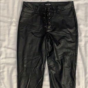 Black shinny tie up pants